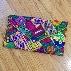 NWOT Boho Handcrafted Embroidered Raw Silk Clutch